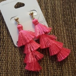 Fucia Tassel Earrings